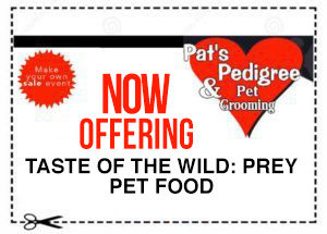 A coupon offering prey pet food from Taste of the Wild at Pat's Pedigree