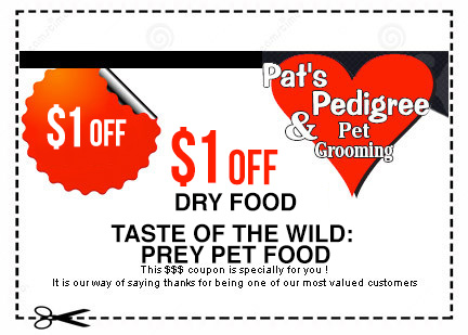 A coupon offering one dollar off Taste of the Wild at Pat's Pedigree